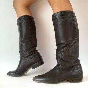 Vintage   8.5   Multi Textured Black Boots